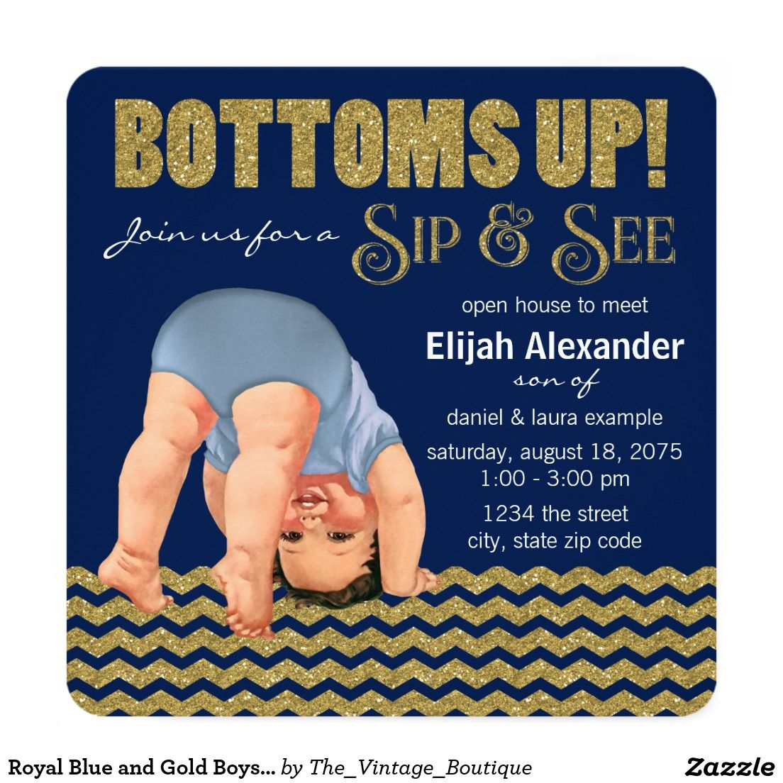 Royal Blue and Gold Boys Sip and See Card | Babies, Baby shower ...