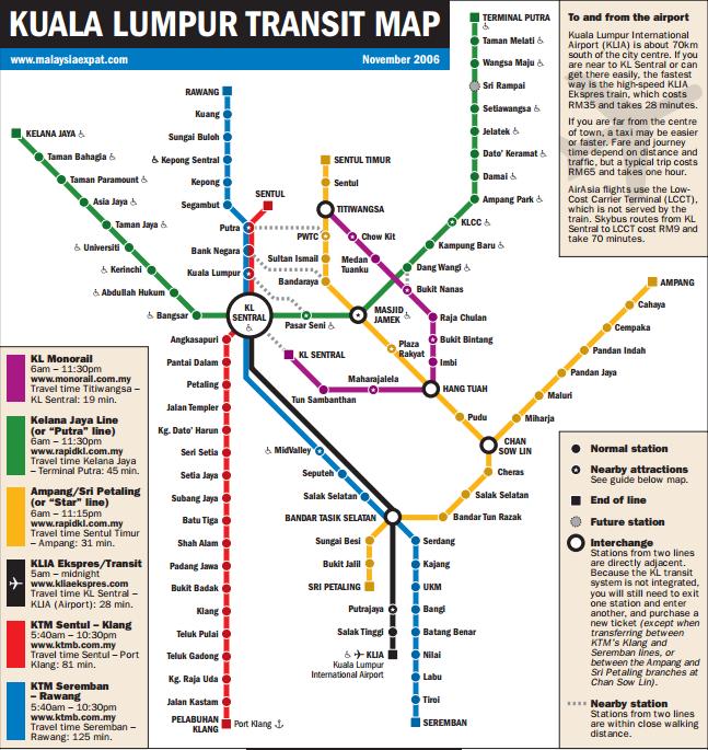 Kuala Lumpur Train Map KLCityGuide Rapidkl ktm komuter
