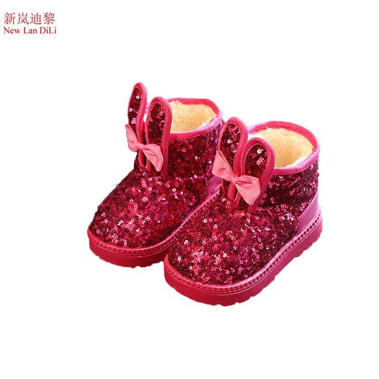 Kis Cocuk Kar Boots Pullu Kizlar Pelus Kar Botlari Kiz Tavsan Kulaklari Rahat Botlar Pamuk Papyon Yastikli Cocuklar Mart Baby Boots Girls Boots Childrens Shoes