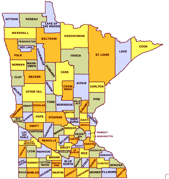 graphic relating to Minnesota County Map Printable titled Minnesota map with towns, counties - Minnesota place map