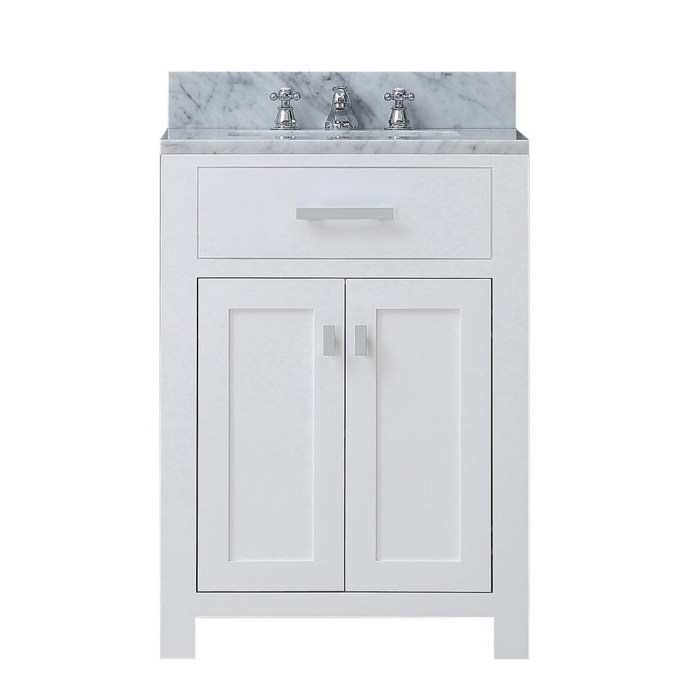 Water Creation Madison 24 In Vanity In Modern White With Marble