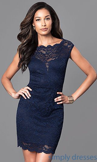 Short Navy Blue Wedding Guest Dress With Cap Sleeves In 2018