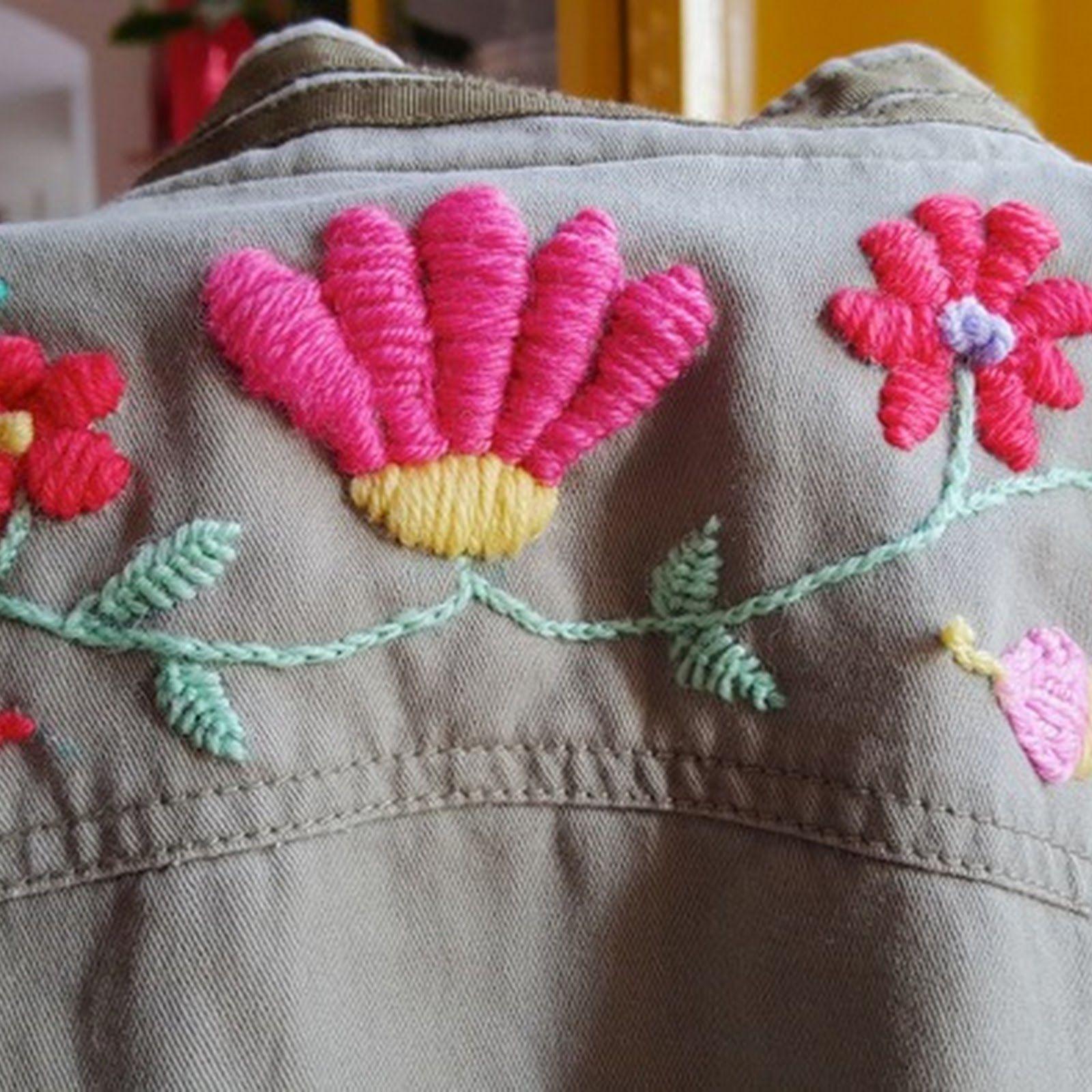 Bordado mexicano con lana en ropa