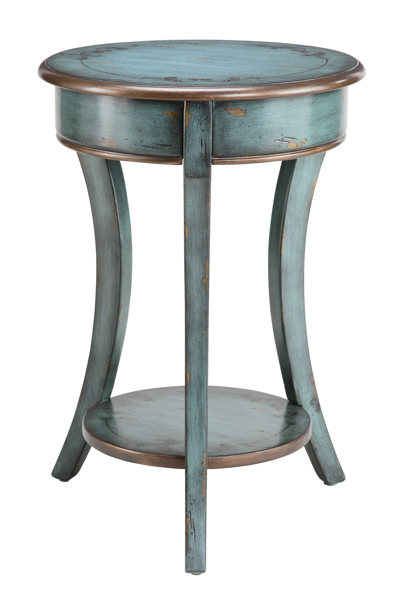 Stein World Painted Treasures End Table Bronzed And Distressed Paint - Round end table with doors