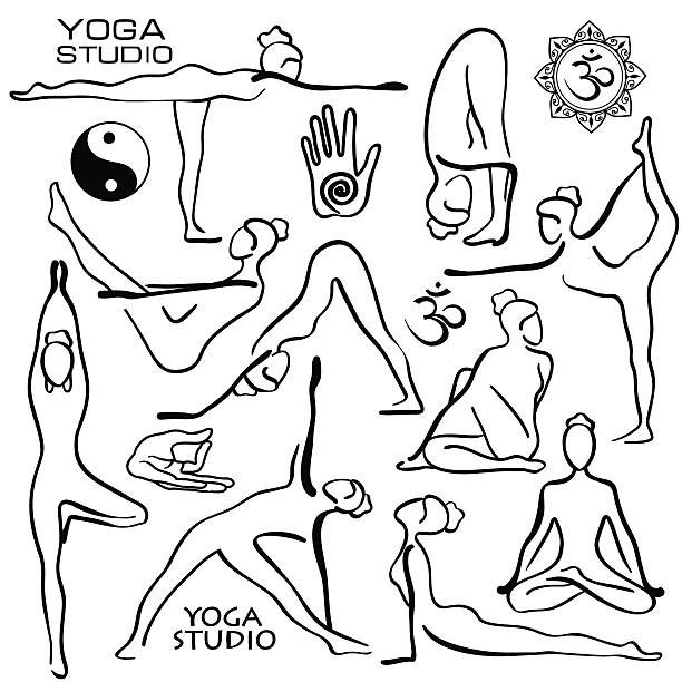 Set of isolated black hand drawn outline yoga poses. Collection of…