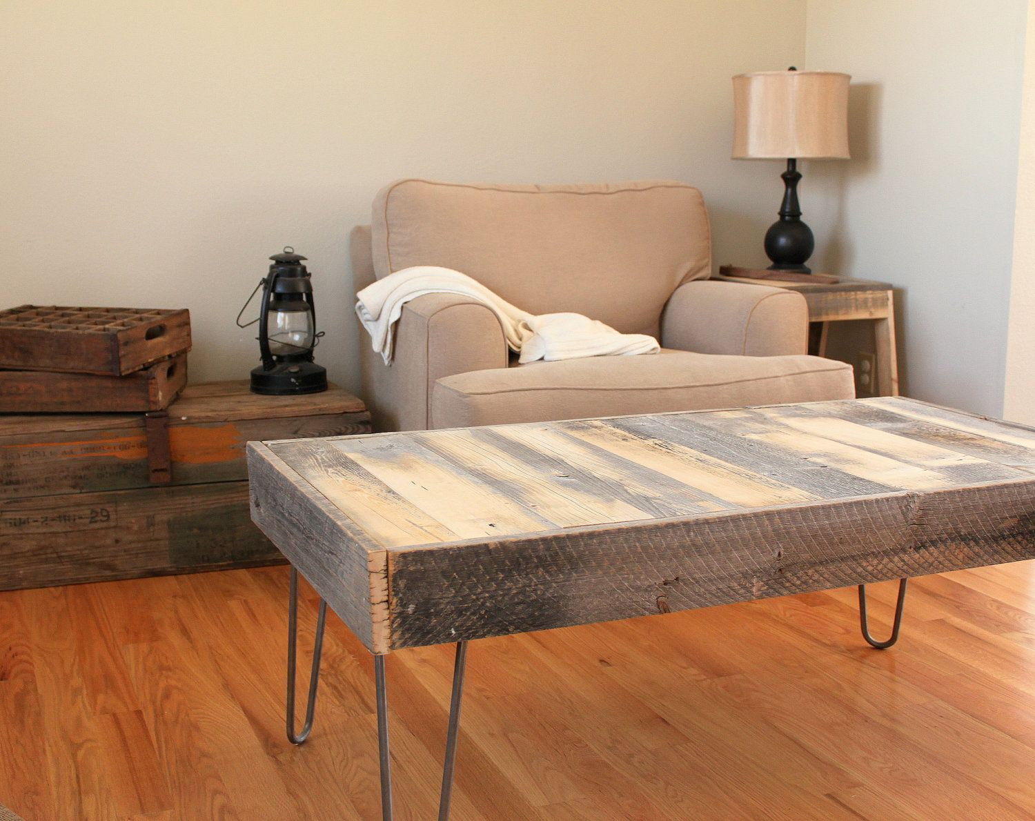 "I smell a DIY here - Reclaimed Wood Coffee Table - Set on 15"" steel hairpin legs. $300.00, via Etsy."