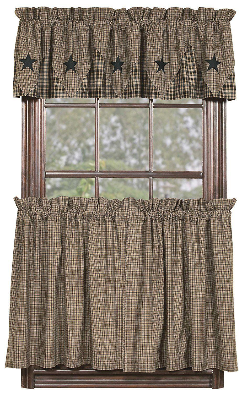 Ihf Home Decor 36 Tier Curtain Vintage Star Black Design Cotton