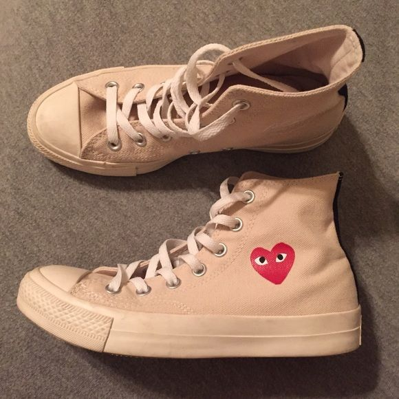 Comme Des Garçons (CDG) Play x Converse Comme Des Garçons (CDG) Play x  Converse in cream and black. Worn less than 5 times. Men s size 5 61eb92d6c2d3