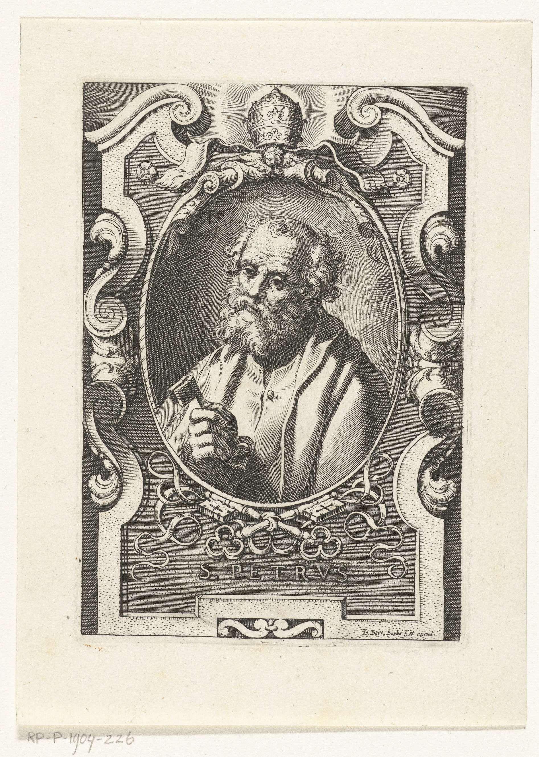 Jan-Baptist Barbé | Apostel Petrus met sleutels in omlijsting met architectuur ornamenten, Jan-Baptist Barbé, Theodor van Loon, 1588 - 1648 |