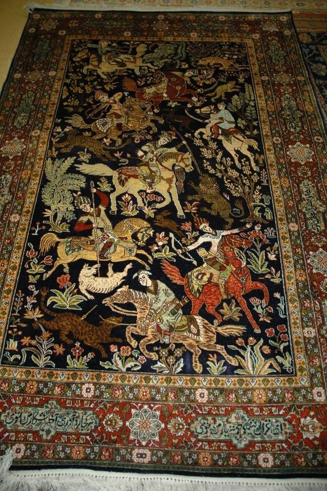 Khan Oriental Rugs Presents Kashmiri Blue Gold Silk Rugs
