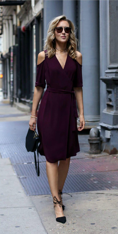 b8e30be0e24 Burgundy cold shoulder wrap dress