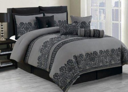 Amazon Com 10 Piece Cal King Miya Black And Gray Comforter Set