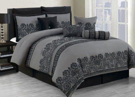 Amazon Com 10 Piece Cal King Miya Black And Gray Comforter Set Home Kitchen Bedroom Comforter Sets Black And Grey Bedding Comforter Sets
