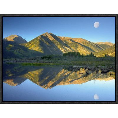 Global Gallery Moon and Twin Peaks Reflected in Lake, Colorado by Tim Fitzharris Framed Photographic Print on Canvas Size: