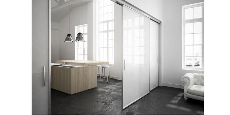 Esempio di porta in vetro scorrevole per interno interni - Porte scorrevoli a vetri ...