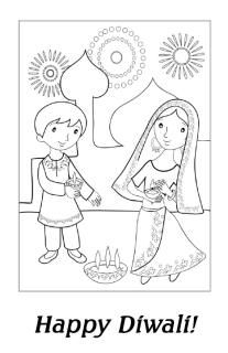 Diwali drawing scenes for kids and childrens 2016 happy for Free diwali coloring pages