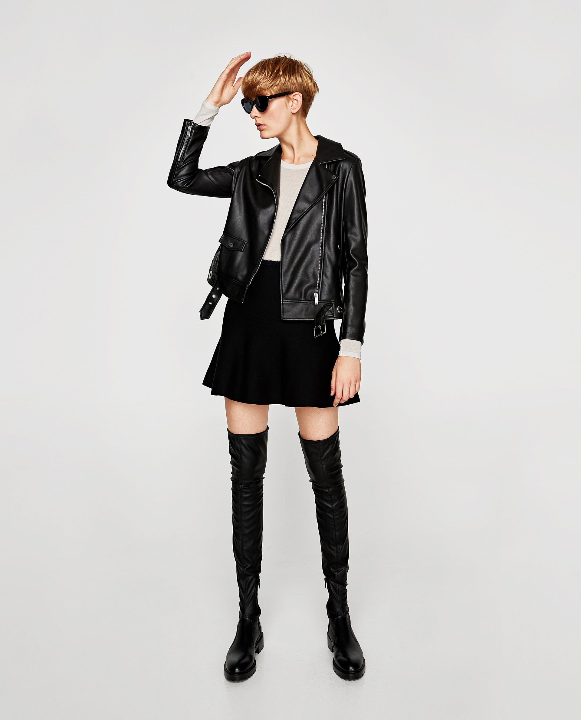 d2992208da7 ZARA - WOMAN - FLAT OVER-THE-KNEE BOOTS WITH TOE DETAIL