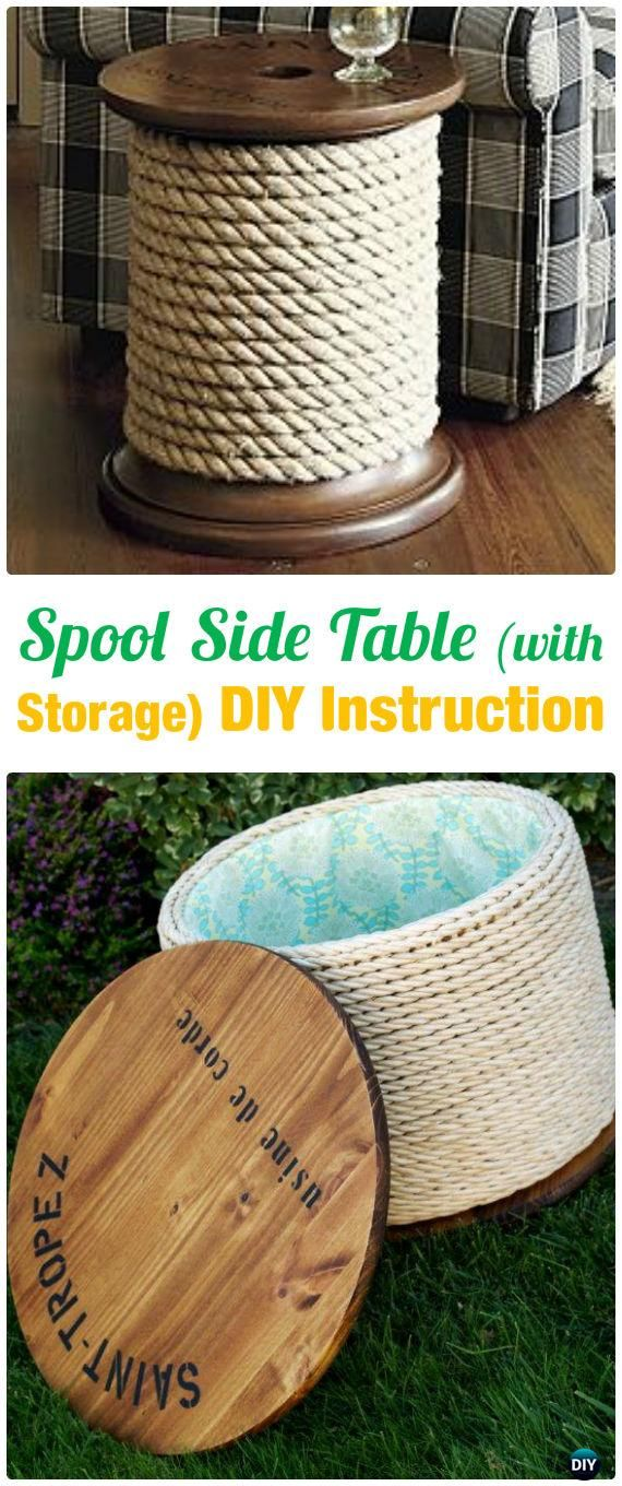 DIY Wood Spool Side Table with Storage Instruction - Wood Wire Spool ...