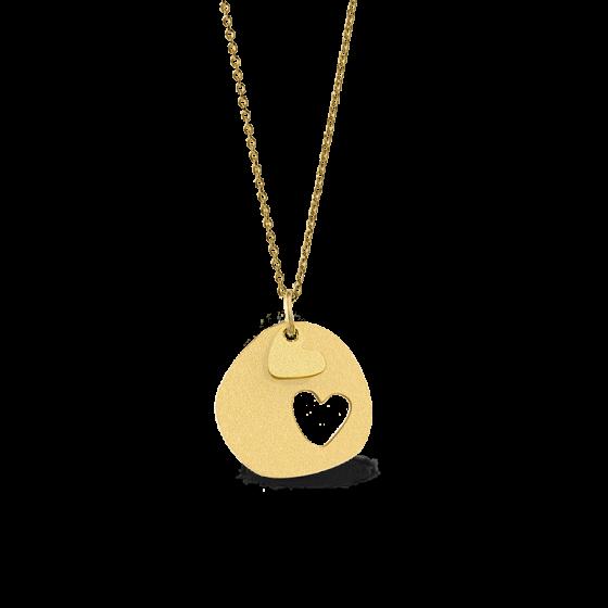 Colar Love Double Heart Dourado OMNIAGIRLS