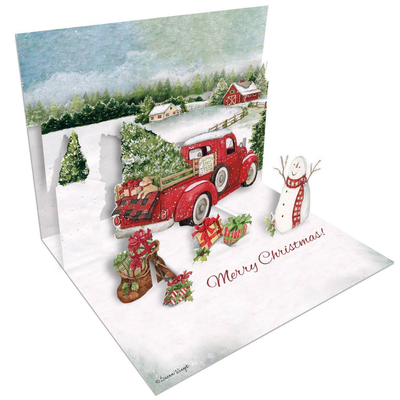 8ct Santa's Truck Pop-Up Boxed Christmas Cards