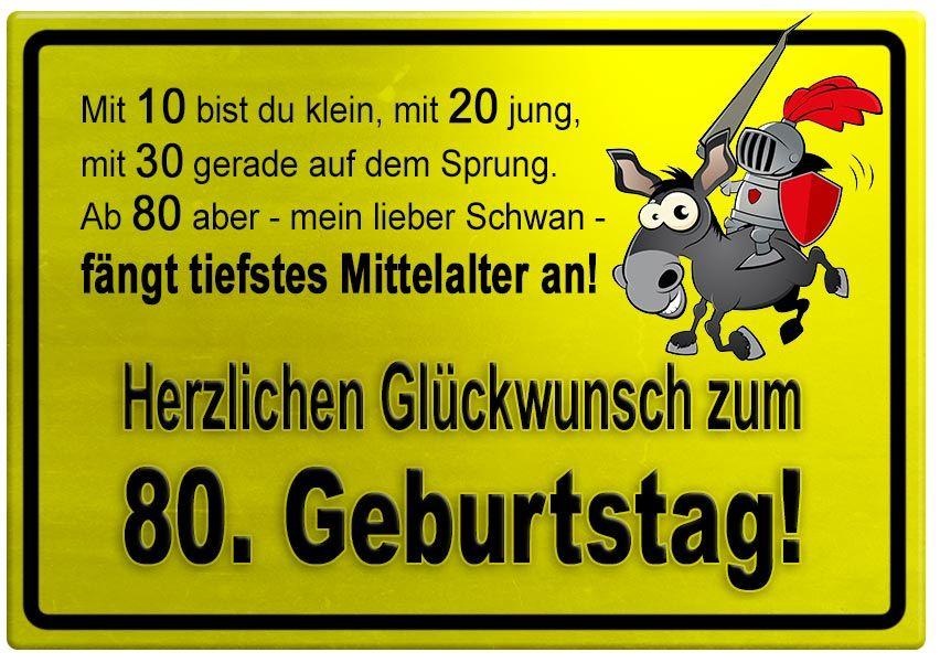 Gelbes Schild Mit Esel Und Ritter Zum 80 Geburtstag