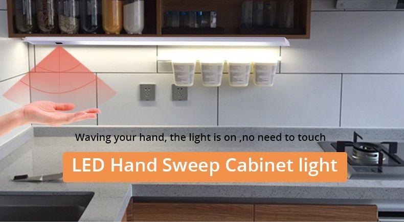 Hand Sweep Switch Led Under Cabinet Kitchen Light In 2020 Kitchen Under Cabinet Lighting Kitchen Lighting Chandelier In Living Room