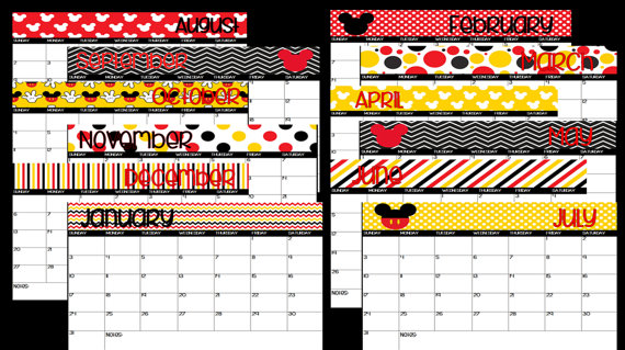 photograph about School Calendar -16 Printable named 2018-2019 Printable Mickey Mouse Disney Themed Faculty