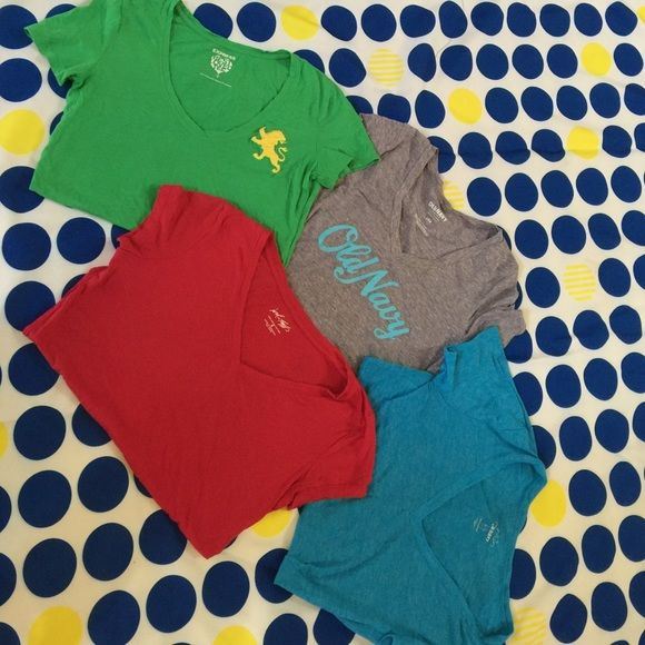 T-Shirts size small 2 old navy t-shirts one blue one grey. One green Express t-shirt and one burgundy Lord and Taylor t-shirt Old Navy Tops Tees - Short Sleeve