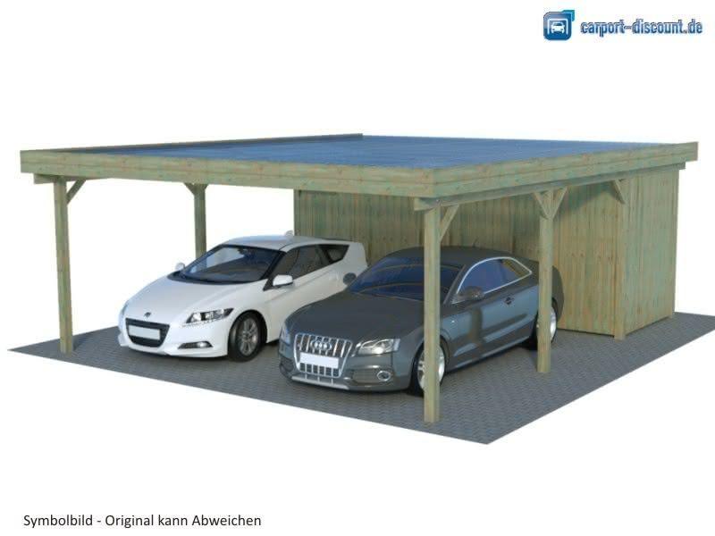Flachdach Doppelcarport Mit Abstellraum Gunstiger Bausatz In 2020 Doppelcarport Mit Abstellraum Doppelcarport Carport