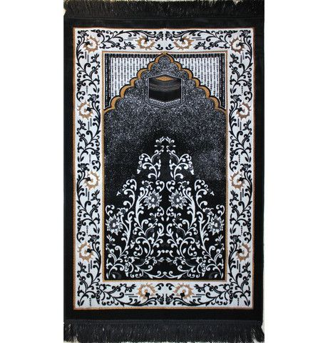 Plush Velvet Kaba Prayer Rug Floral Black And White Modefa Usa Prayer Rug Muslim Prayer Rug Rugs