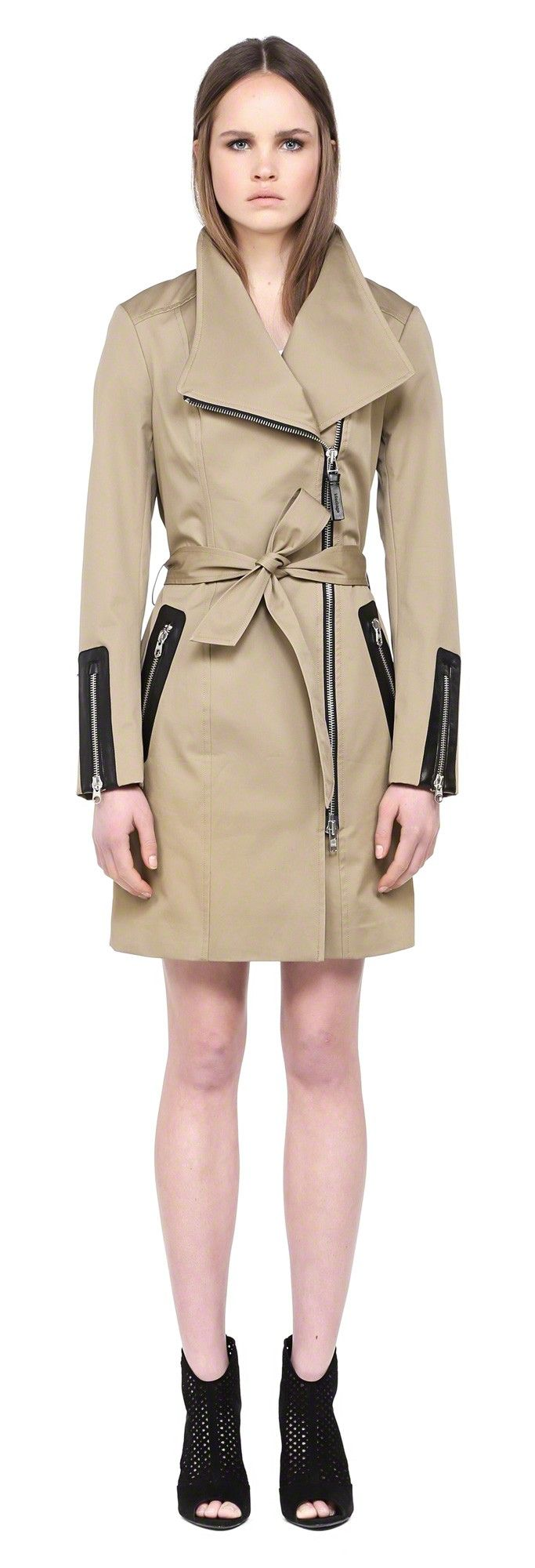 MACKAGE ESTELLE SAND SPRING TRENCH COAT WITH LEATHER TRIM FOR WOMEN #mackage #trenches