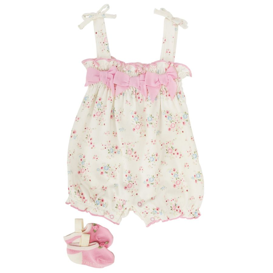 Vitamins Baby Infant Girl Bows and Blossoms Romper and Socks #VonMaur