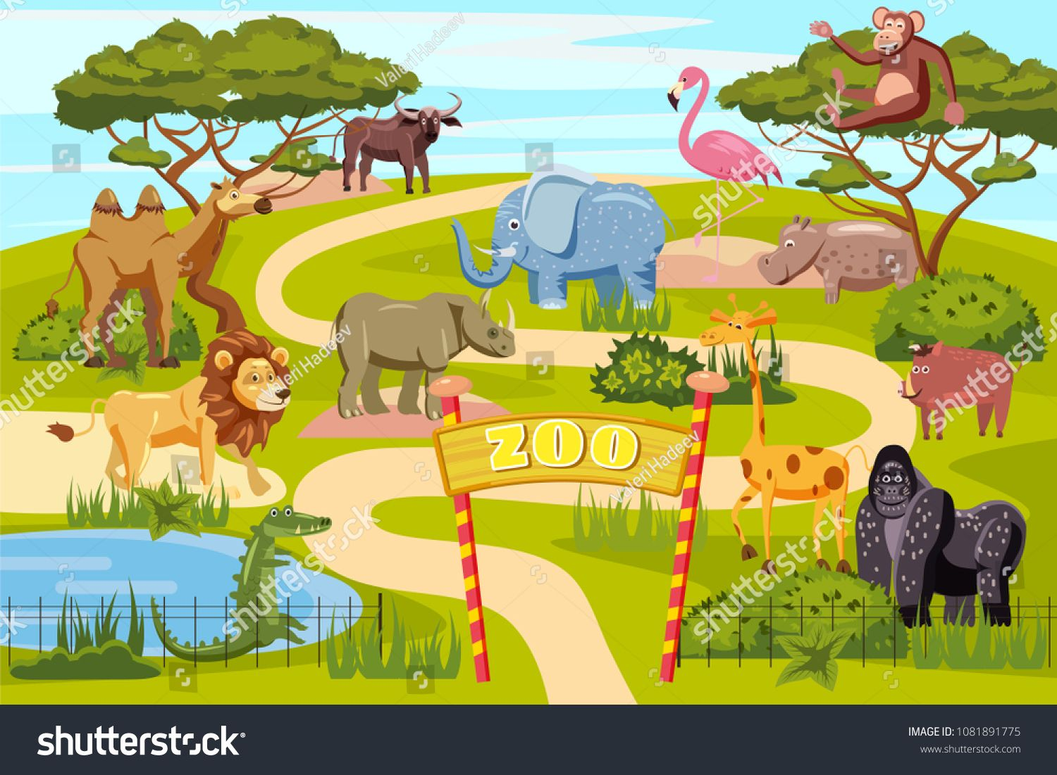 Zoo entrance gates cartoon poster with elephant giraffe