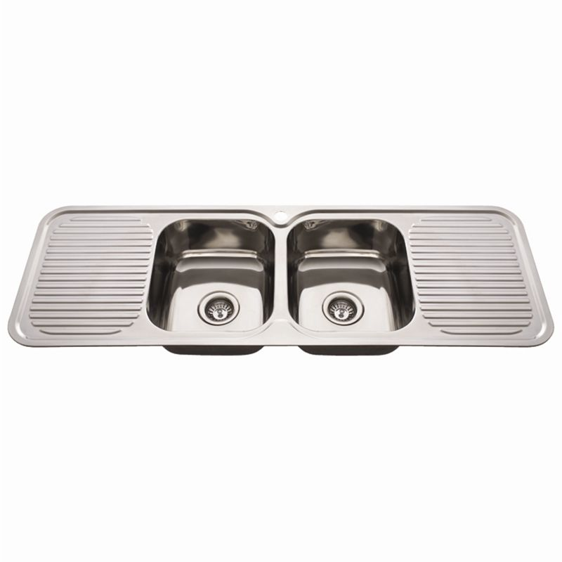 Nugleam 1380 Double Bowl Kitchen Sink With Double Drainer I N 5110328 Bunnings Warehouse