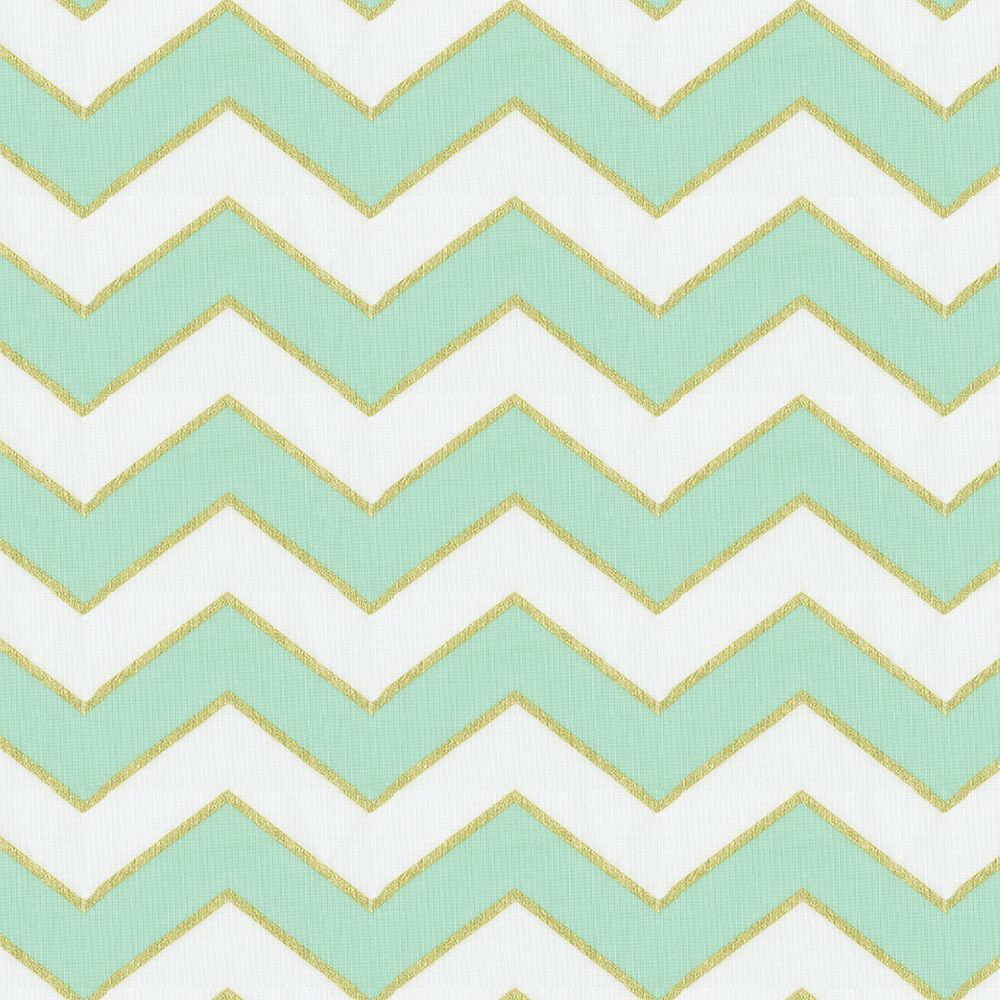 Mint and Gold Chevron Fabric by the Yard | Chevron fabric ...