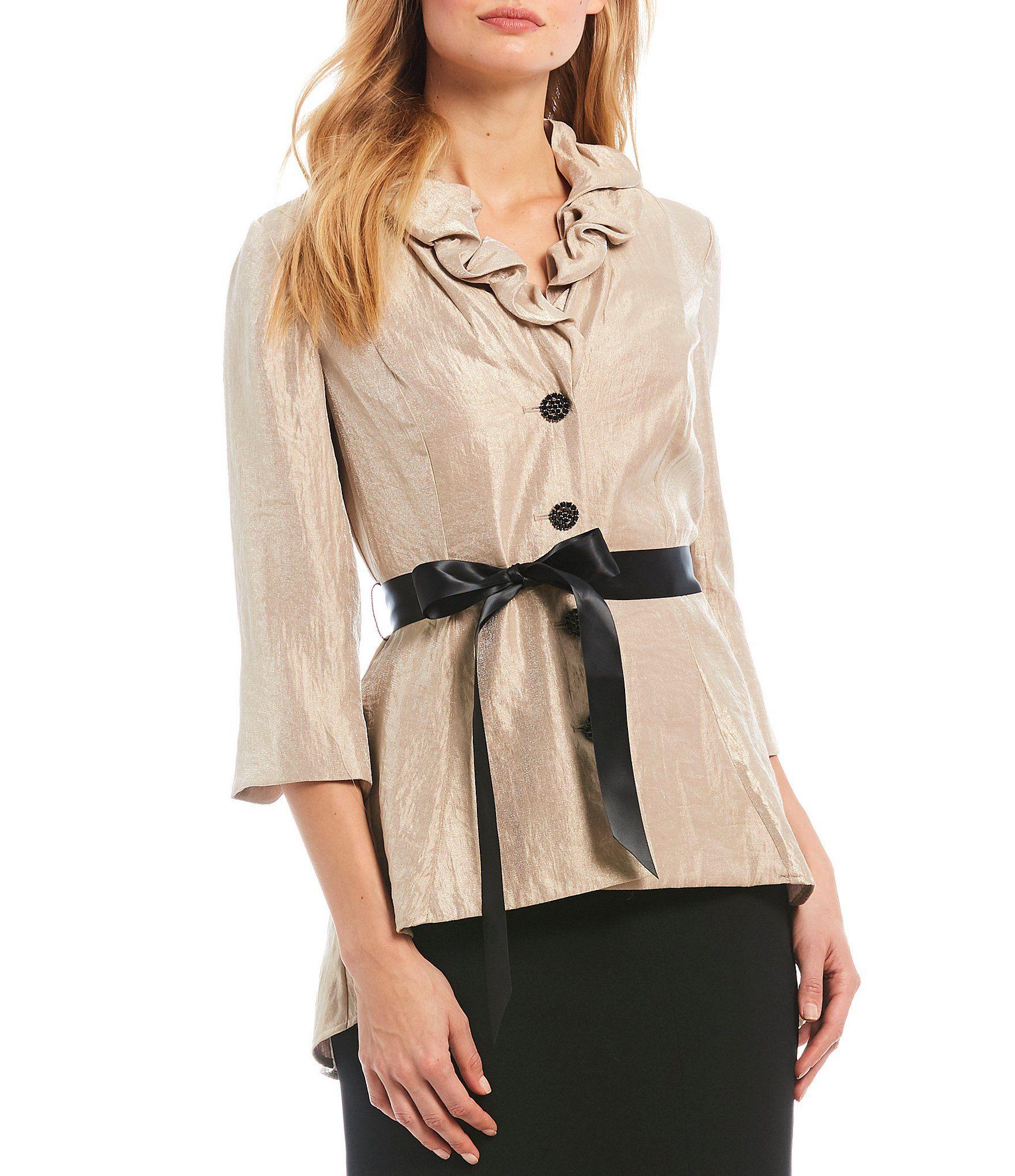 Adrianna papell ruffle collar tie waist button front