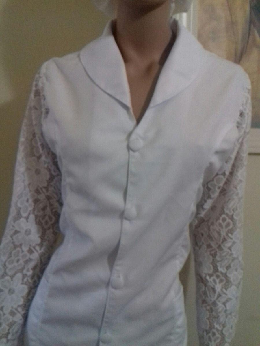 jaleco acinturado manga renda bordado grátis  e39e9fb572a