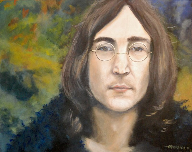 "John Lennon - ""Strawberry Fields"". Acrylic on canvas portrait by Kim Overholt."