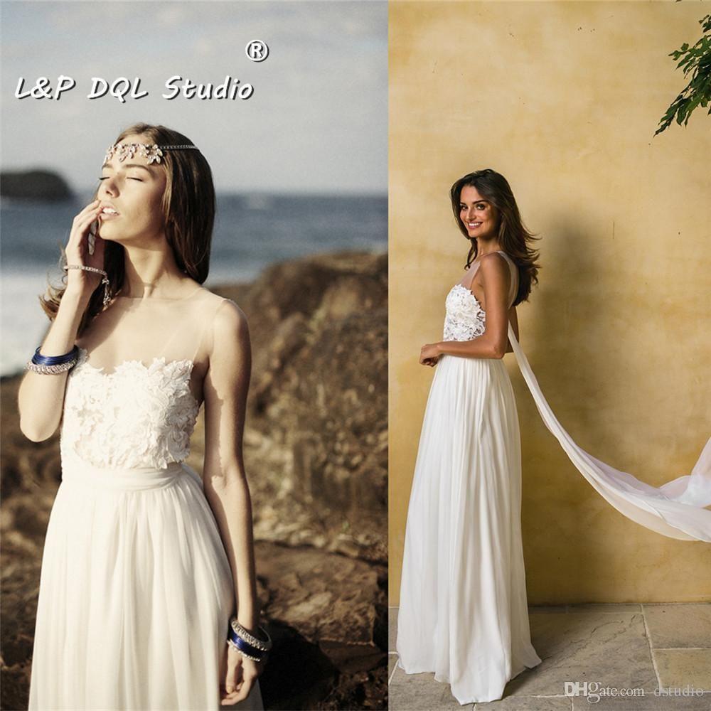 boho chiffon wedding dresses illusion sheer with lace side