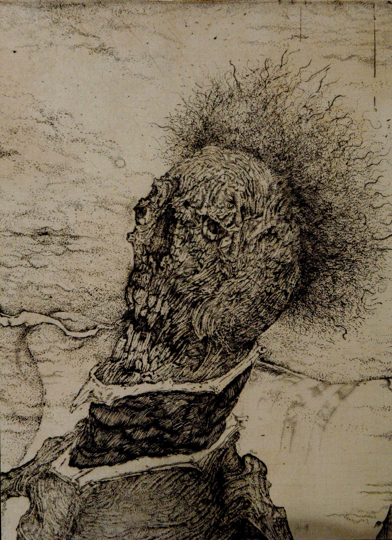 翁-Q 午後の産声 部分 2004 etching A part of printmaking Old man-Q The first cry in the afternoon