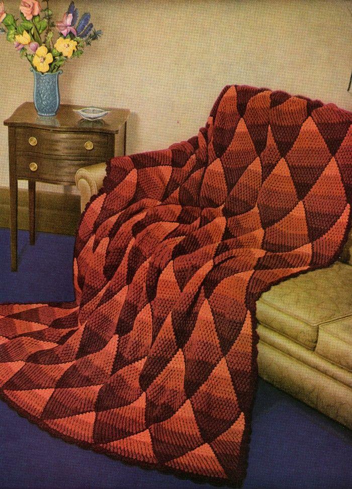 Gourmet Crochet Single Crochet Entrelac Bargello Diamond Afghan at ...