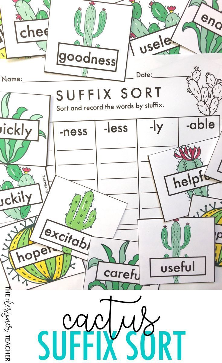 Cactus Suffix Sort Center {FUL, LESS, NESS, ABLE, & LY}   Pinterest