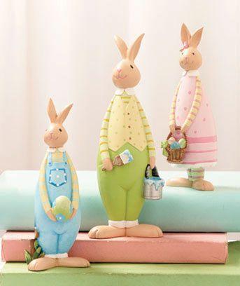 3 Pc Figurine Sets Rabbit Decor Spring Easter Decor Spring Easter Eggs