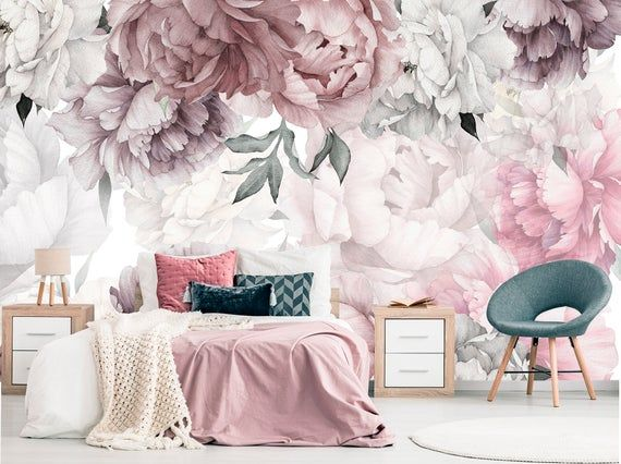 Peonies Wallpaper Removable Floral Wallpaper Peonies Flowers Etsy Peony Wallpaper Floral Wallpaper Floral Wallpaper Nursery