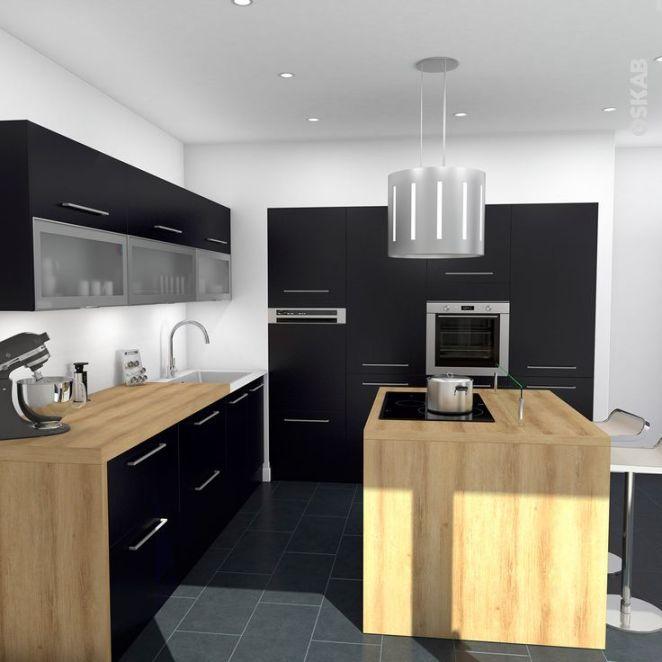 Idée Relooking Cuisine Cuisine Noire Mat Avec Ilot Central Design : Meuble  Haut Vitré Plan De