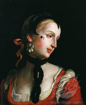 Woman with beauty spots, Venice, Italy  Clearly a masquearde cotumes, but the makeup is pure 18th century