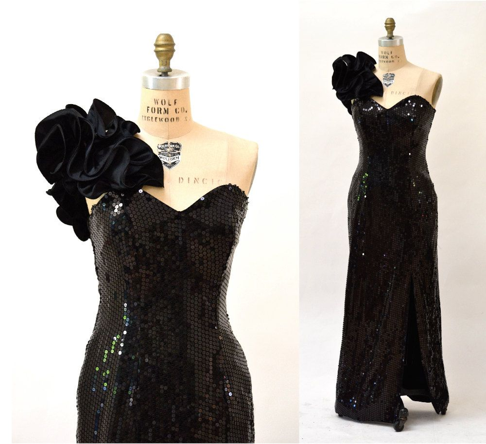 S vintage black sequin dress size large s prom dress gown size