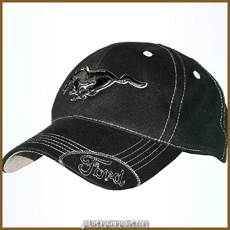 Ford MUSTANG Mütze mit silbernen Nähten Schwarz Besetzung Besetzung zu Händen Damen -
