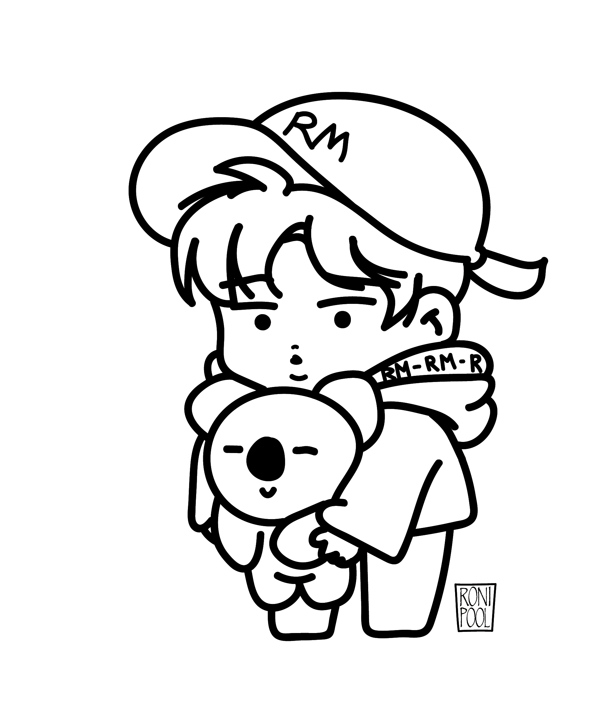 Bts Fanart Bt21 Namjoon Rm And Koya Chibi Speed Drawing Roni Pool Bts Drawings Chibi Coloring Pages Sketch Book
