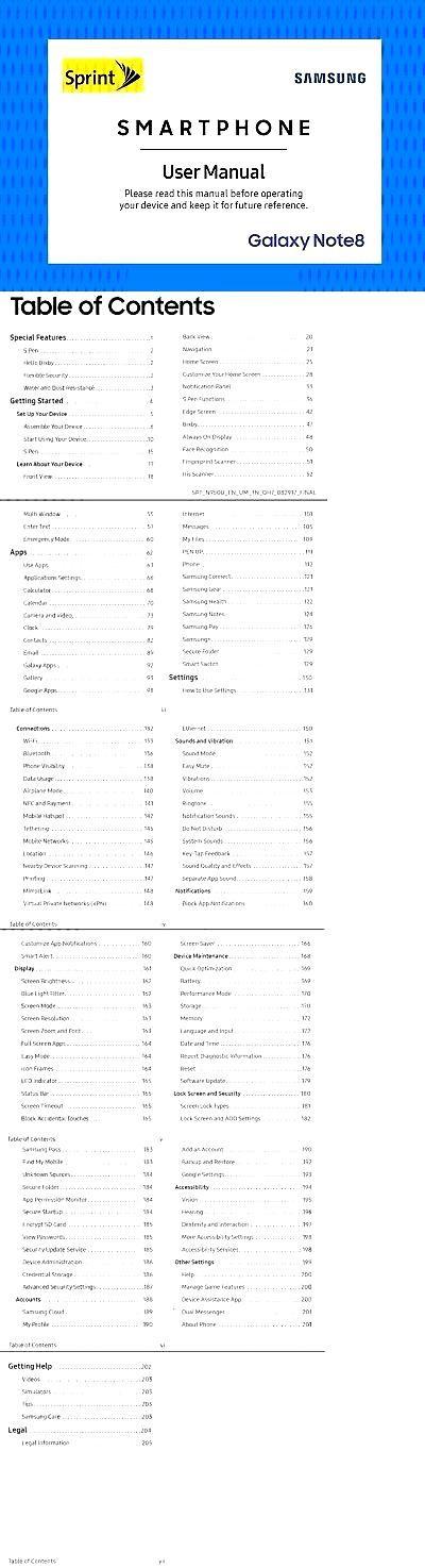 Handbücher und Anleitungen 43307 Samsung Galaxy Note8 Smartphone Benutzerhandbuch (Für ... Handb